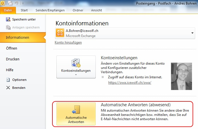 how to set out of the office outlook 2010