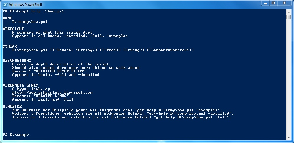 how to document your powershell scripts
