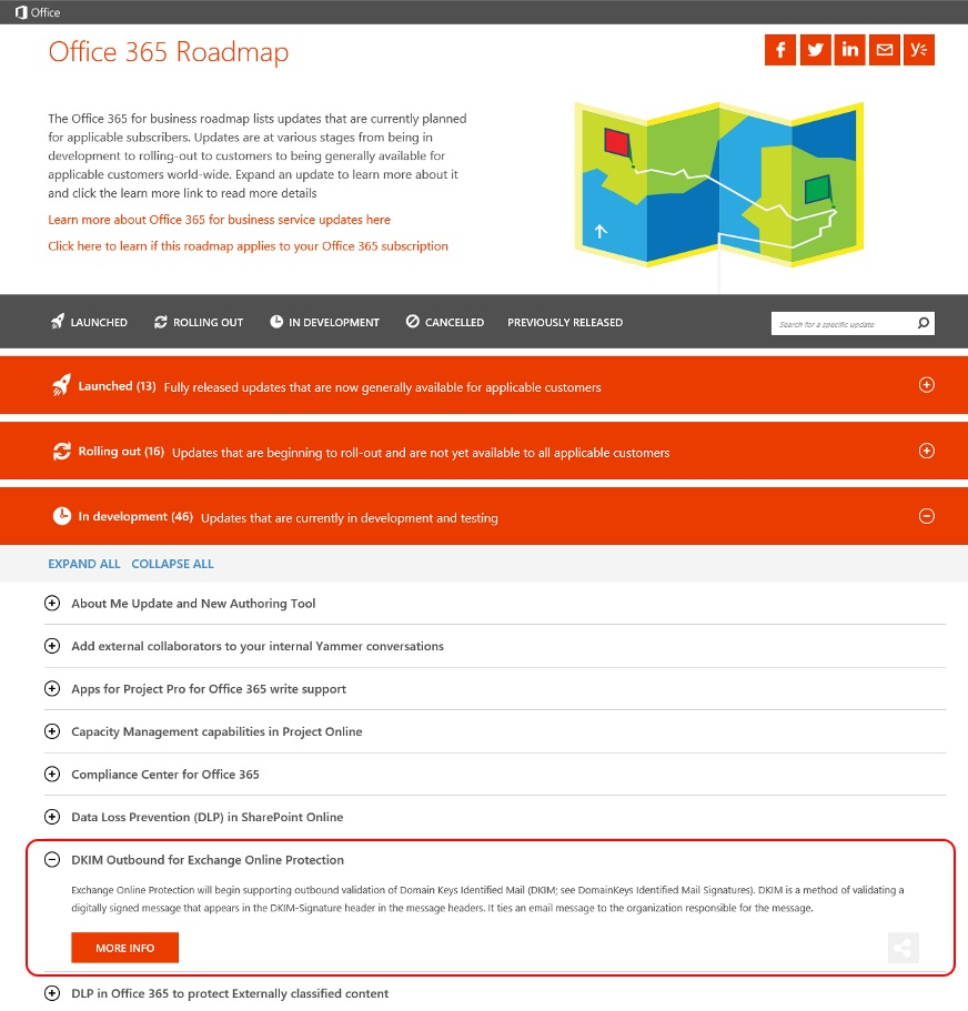 Dkim for outbound mails on office 365 roadmap of exchange online protection eop - Office 365 exchange online ...