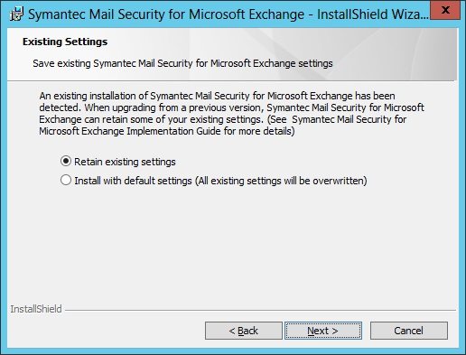 Symantec mail security for microsoft exchange definitions not updating