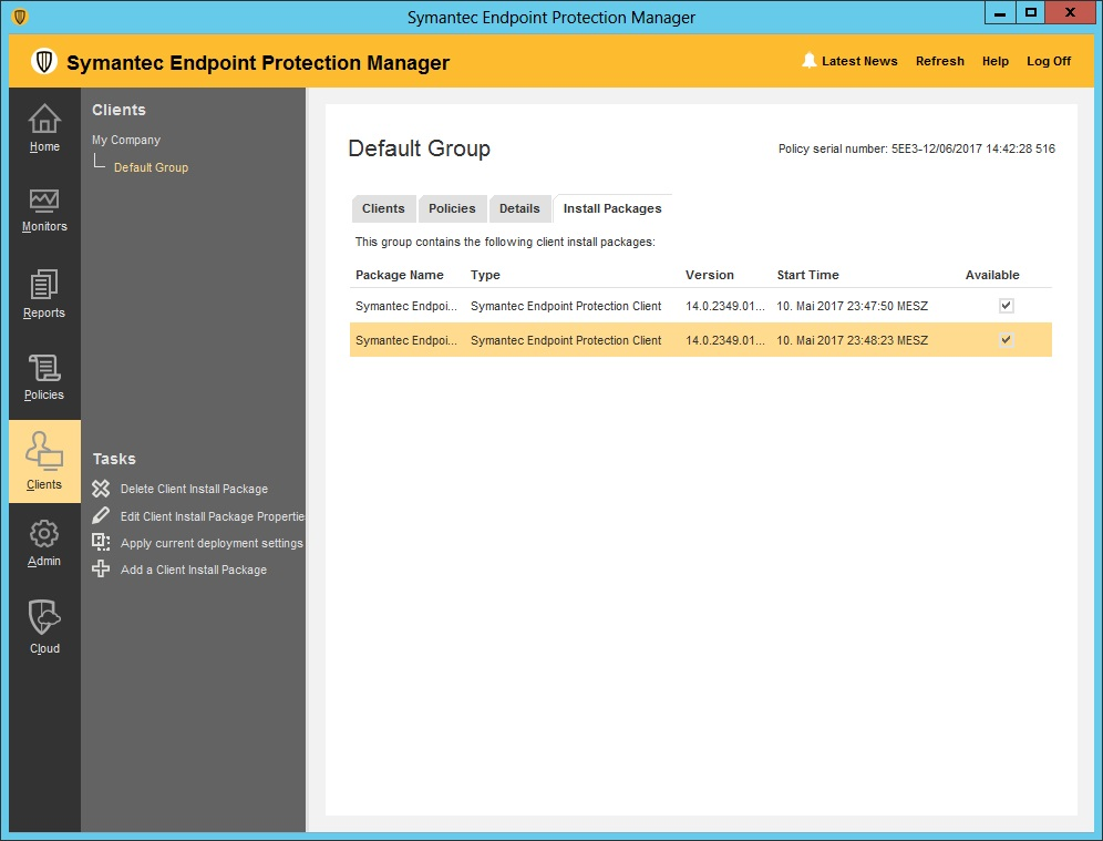 how to update symantec endpoint protection client manually